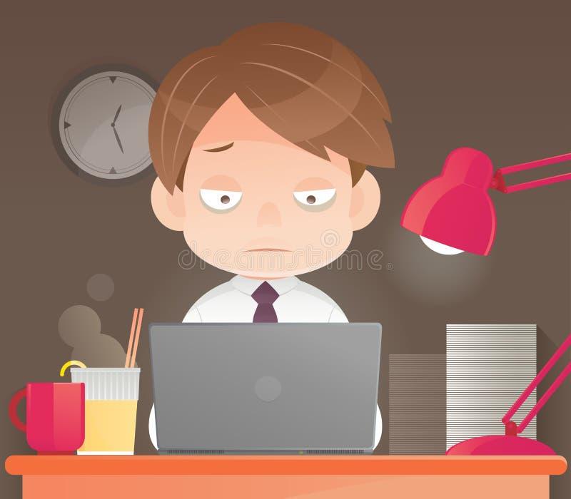 Homme d'affaires travaillant des heures supplémentaires de fin de nuit dans le bureau illustration libre de droits