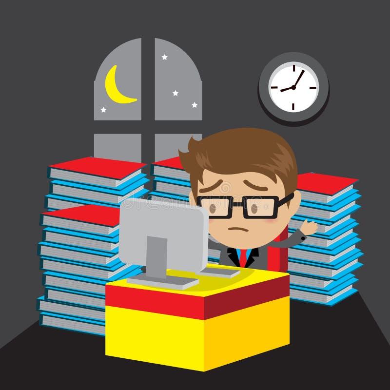 Homme d'affaires travaillant des heures supplémentaires de fin de nuit dans le bureau illustration de vecteur