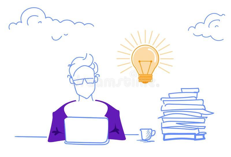 Homme d'affaires travaillant l'ordinateur portable de processus produisant du griffonnage horizontal de croquis de nouveau d'idée illustration libre de droits