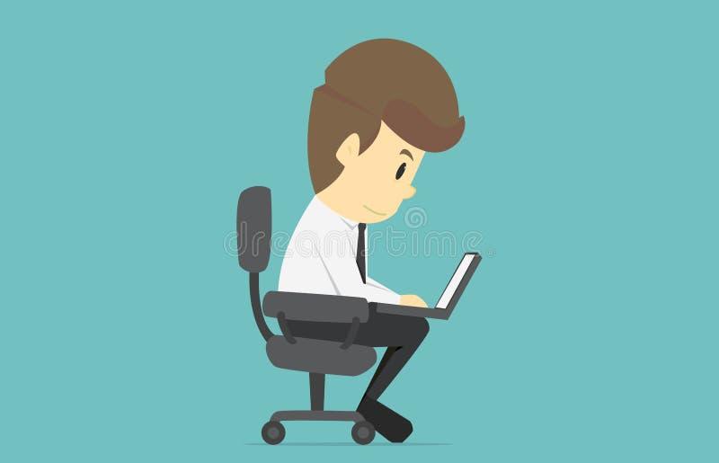 Homme d'affaires travaillant sur l'ordinateur portable Bande dessinée de suc d'affaires illustration de vecteur
