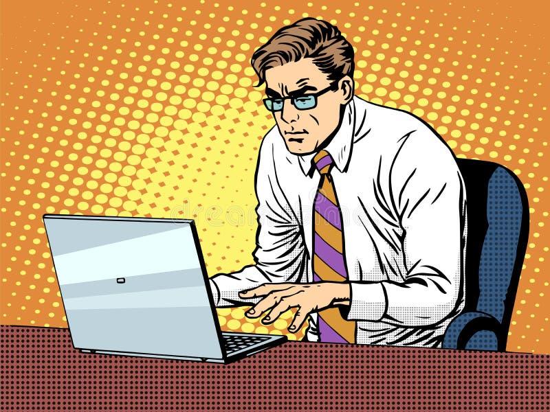 Homme d'affaires travaillant sur l'ordinateur portatif illustration de vecteur