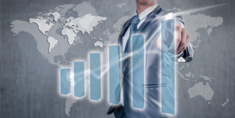 Homme d'affaires travaillant sur le concept de stratégie commerciale d'histogramme image stock