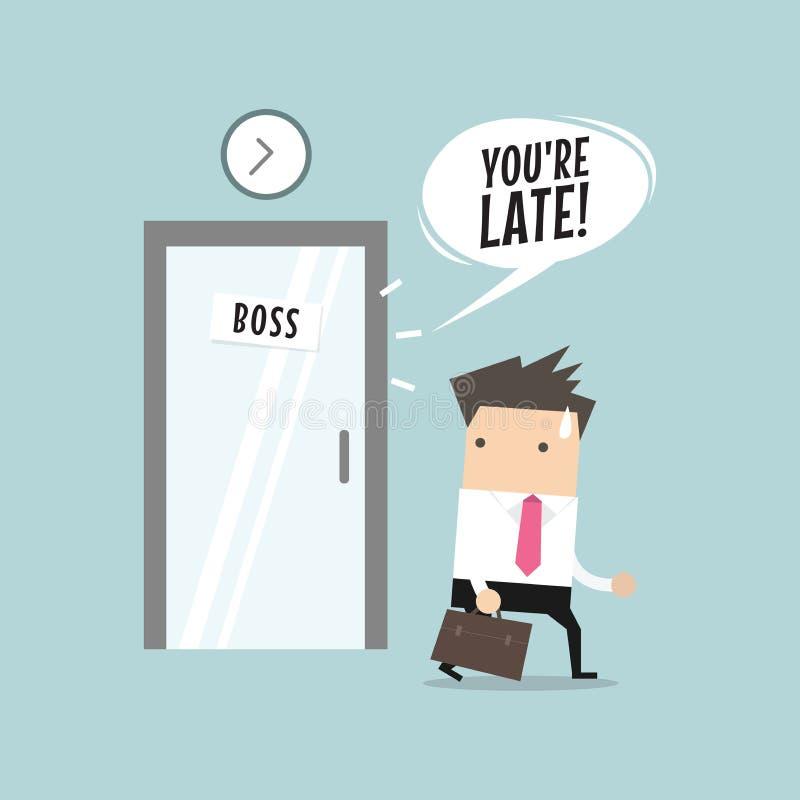 Homme d'affaires travaillant tard La marche par la salle de patron et a été avertie par le patron illustration libre de droits