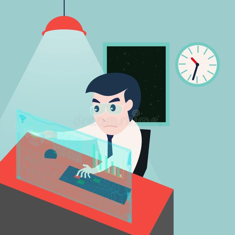 Homme d'affaires travaillant tard la nuit dans le bureau illustration stock