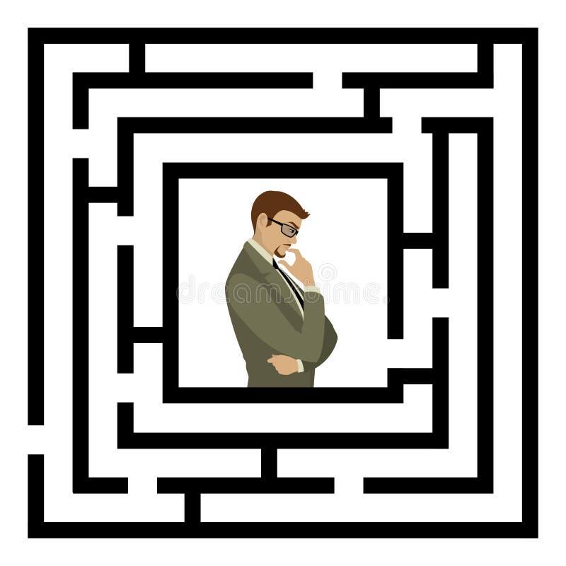 Homme d'affaires trouvant la solution d'un labyrinthe Concept d'affaires illustration libre de droits