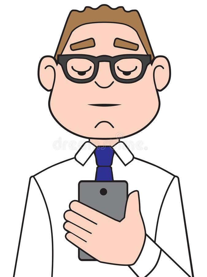 Homme d'affaires Using Cell Phone de bande dessinée illustration de vecteur