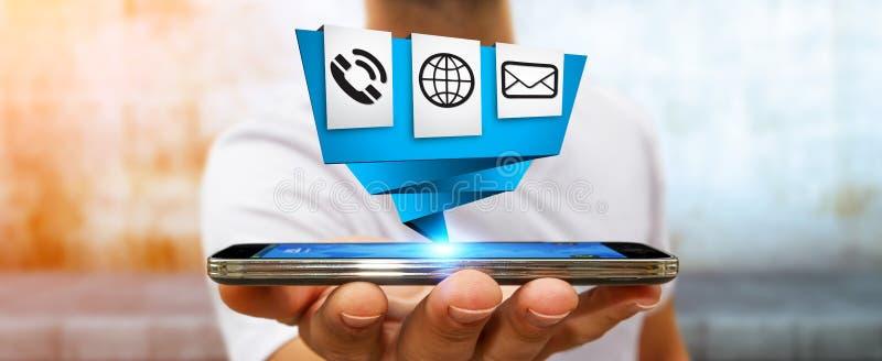 Homme d'affaires utilisant l'application numérique moderne d'icône d'origami sur le sien illustration stock