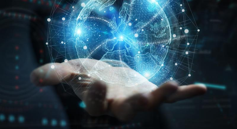 Homme d'affaires utilisant l'hologramme de rendu 3D du réseau mondial de cartes Europe photo libre de droits