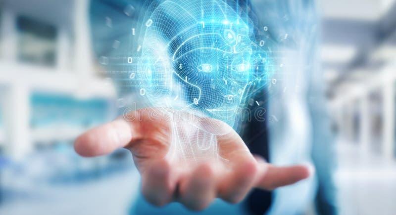 Homme d'affaires utilisant l'intelligence artificielle numérique interface de tête rendu 3D photo libre de droits