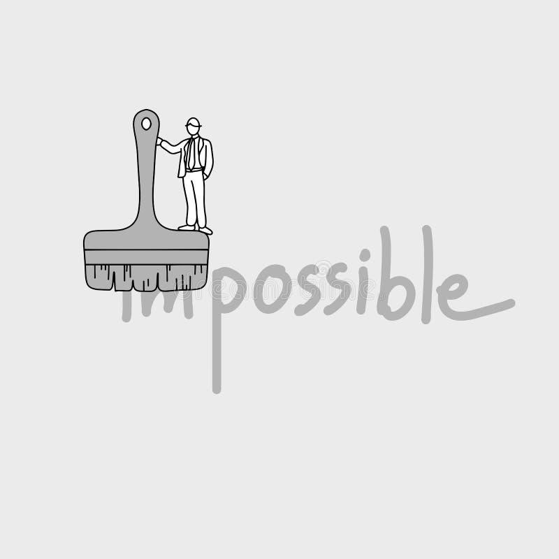 Homme d'affaires utilisant le grand pinceau à rendre impossible à possible illustration libre de droits