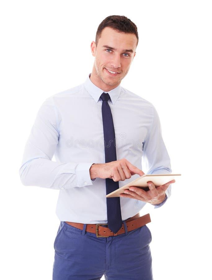 Homme d'affaires utilisant le PC de tablette photographie stock libre de droits