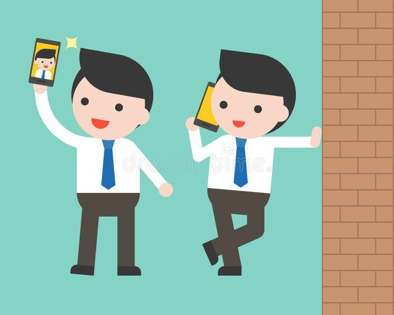 Homme d'affaires utilisant le selfie de téléphone portable et le mur, charac prêt à employer illustration de vecteur