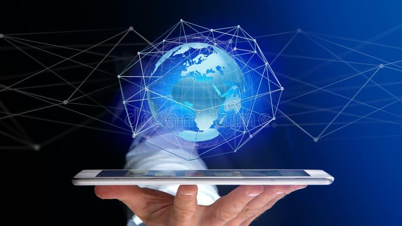 Homme d'affaires utilisant le smartphone avec un réseau relié au-dessus d'une oreille illustration de vecteur