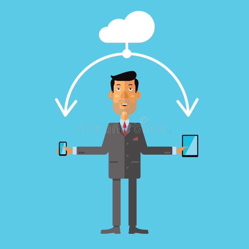 Homme d'affaires utilisant le stockage de nuage pour le smartphone et le comprimé Illustration de vecteur illustration libre de droits