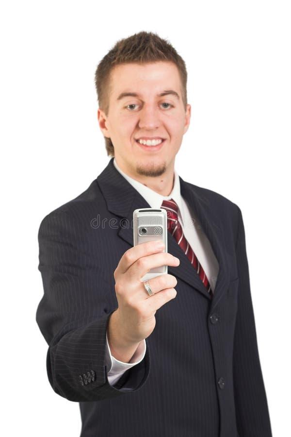 Homme d'affaires utilisant le téléphone portable photos stock