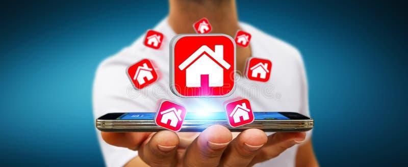 Homme d'affaires utilisant le téléphone portable moderne pour louer un appartement illustration libre de droits