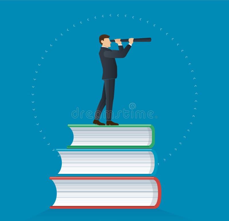 Homme d'affaires utilisant un télescope sur l'illustration de vecteur de conception d'icône de livres, concepts d'éducation illustration stock