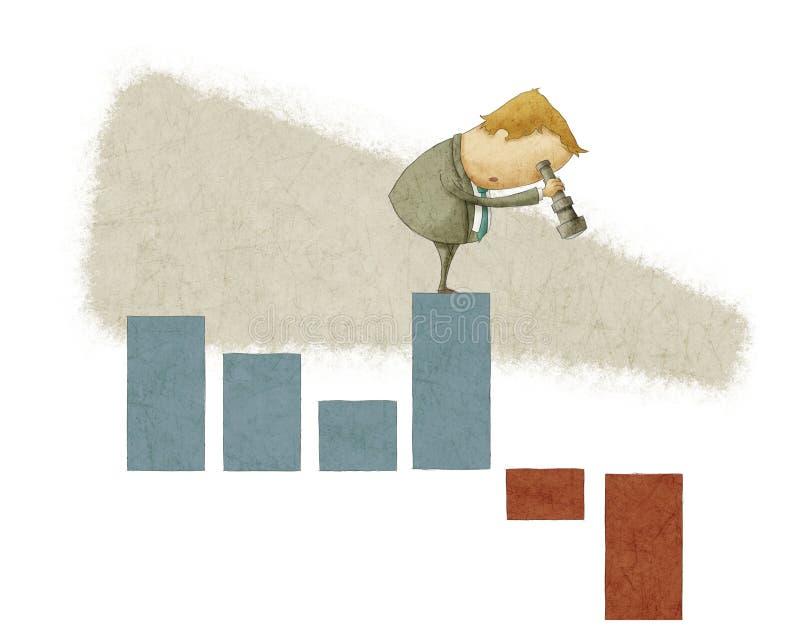Homme d'affaires utilisant un télescope sur un diagramme à barres illustration stock