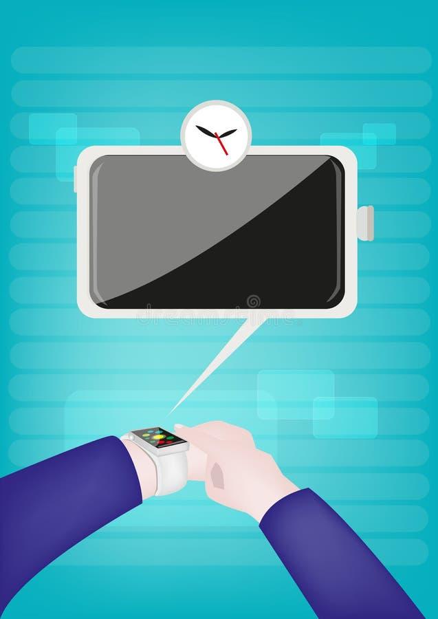 Homme d'affaires utilisant une montre intelligente d'écran tactile avancé illustration de vecteur