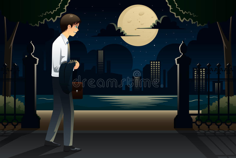 Homme d'affaires venant à la maison tard du travail illustration stock