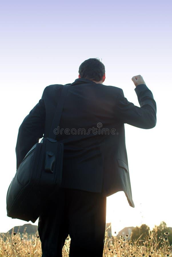 Homme d'affaires victorieux photo stock