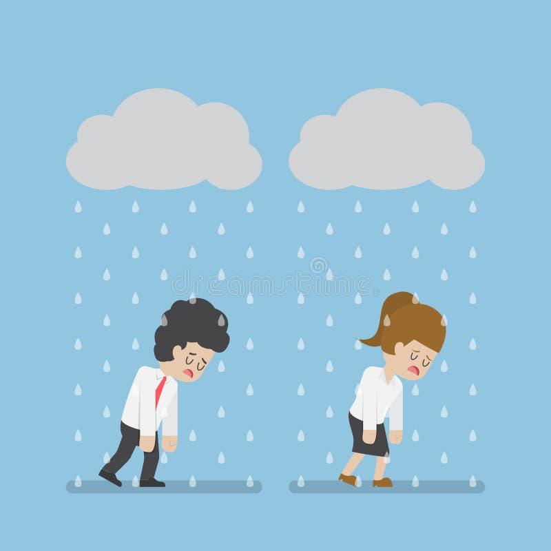 Homme d'affaires Walking Under Cloud de tristesse et pluie illustration libre de droits