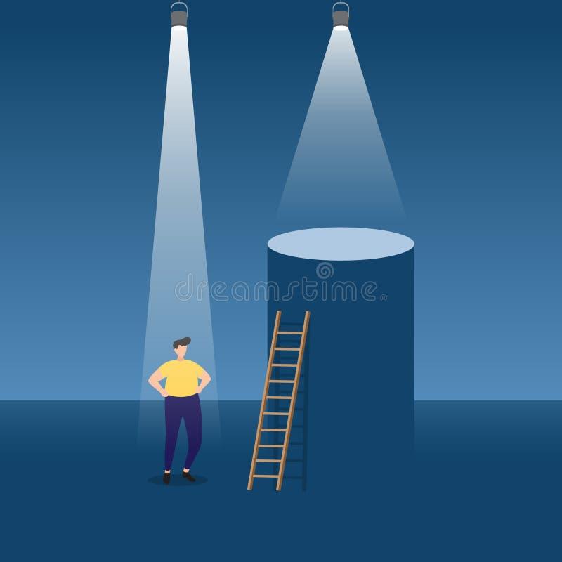 Homme d'affaires Wants pour monter l'échelle de podium pour être réussi sous le projecteur illustration de vecteur