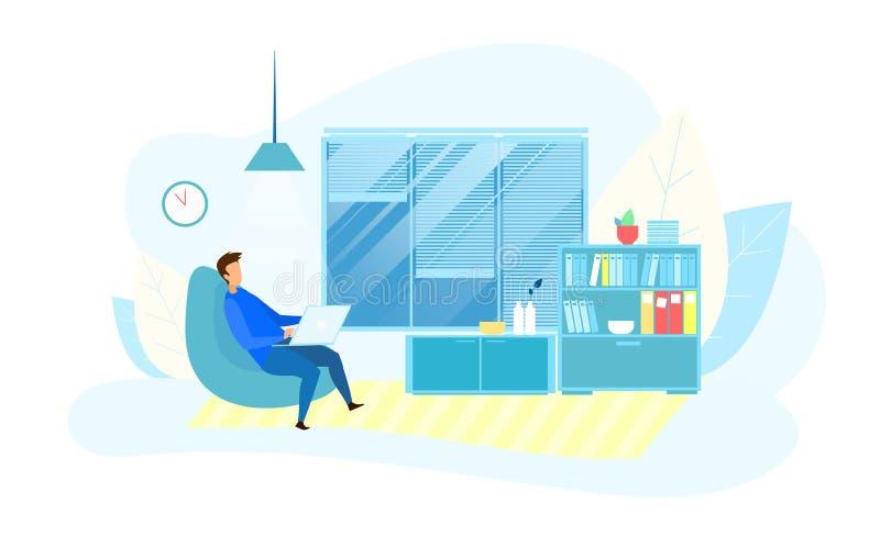 Homme d'affaires Working Overtime dans le bureau moderne de technologie illustration stock