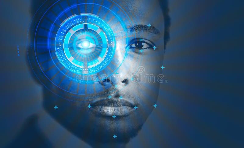 Homme d'afro-américain, interface de reconnaissance des visages photo stock