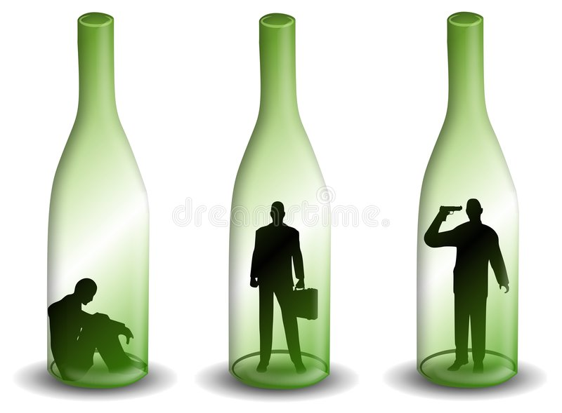 homme d 39 alcoolisme dans une bouteille de vin images stock image 4290014. Black Bedroom Furniture Sets. Home Design Ideas