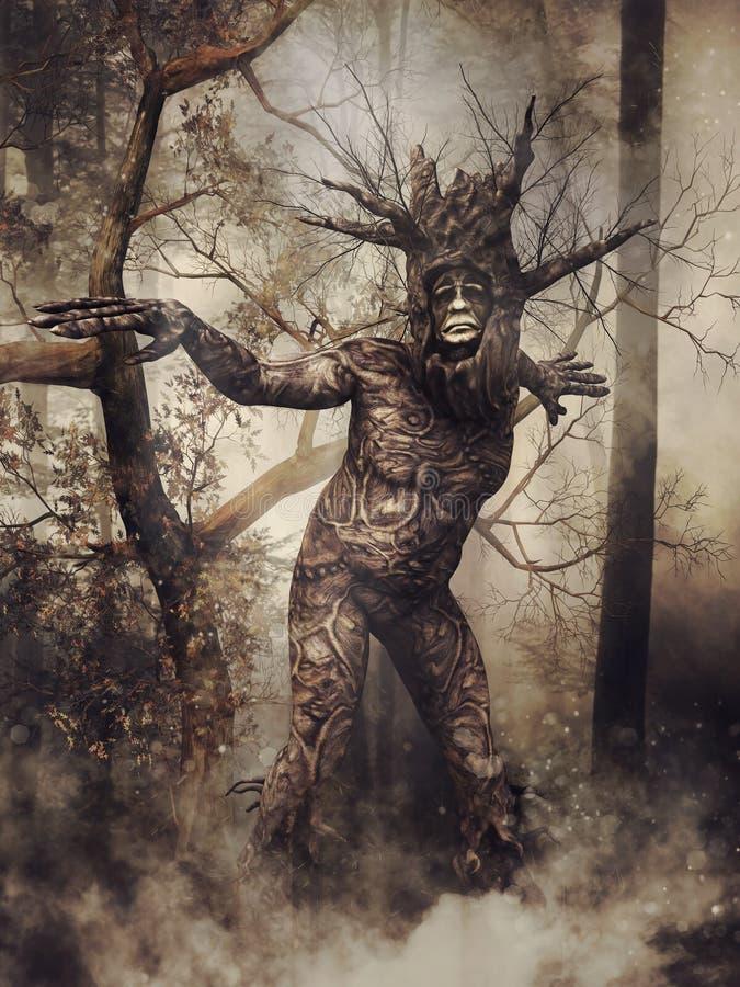 Homme d'arbre d'imagination dans une forêt illustration libre de droits