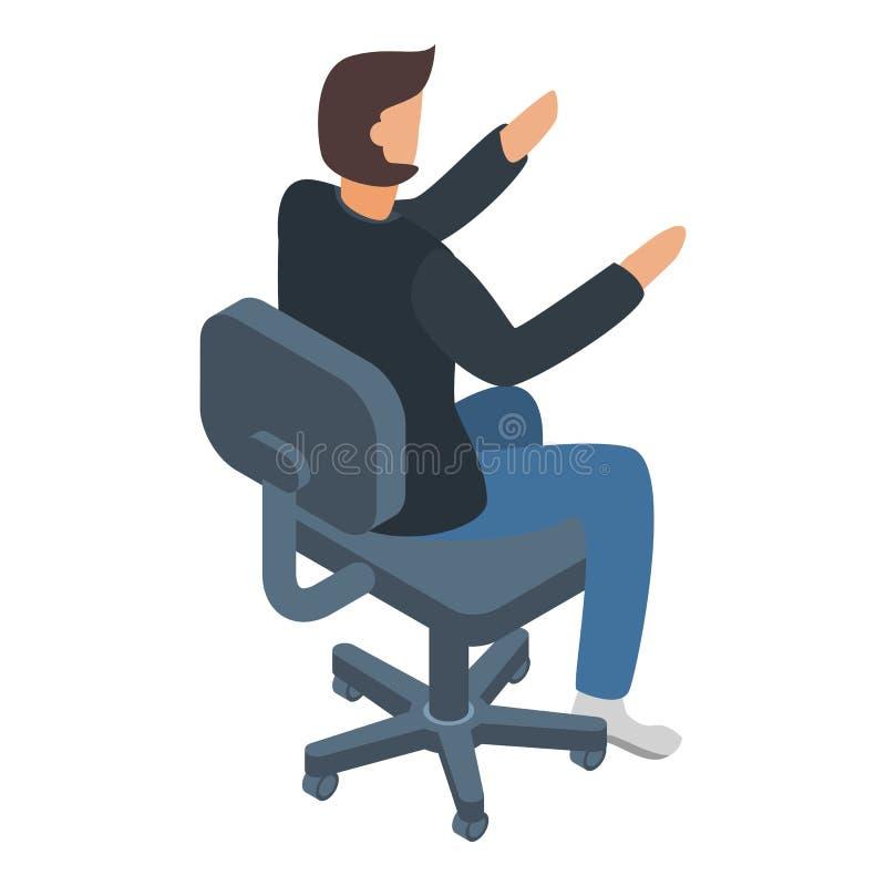 Homme d'architecte à l'icône de chaise, style isométrique illustration de vecteur