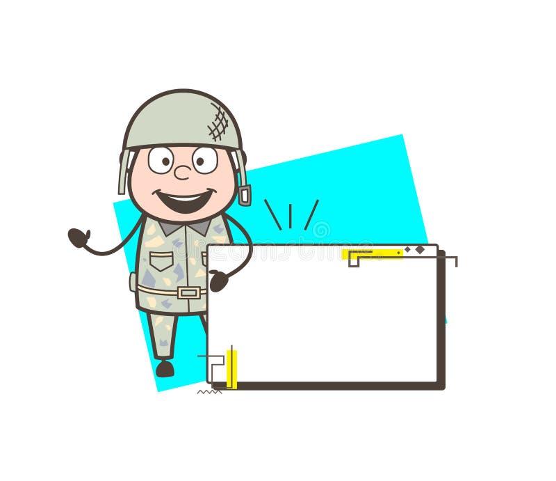 Homme d'armée de bande dessinée avec l'illustration de vecteur de bannière d'annonce illustration libre de droits