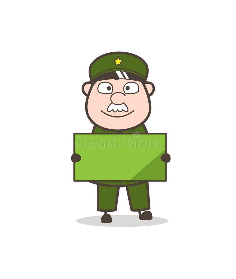 Homme d'armée de bande dessinée tenant une illustration de vecteur de bannière d'annonce illustration de vecteur