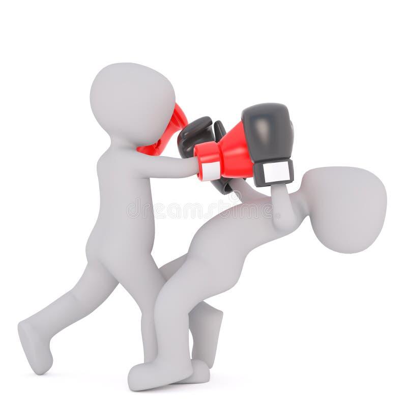 homme 3d assommant un adversaire dans la boxe illustration de vecteur