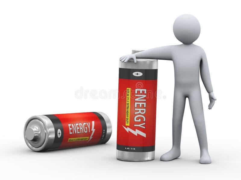 homme 3d avec des batteries illustration stock