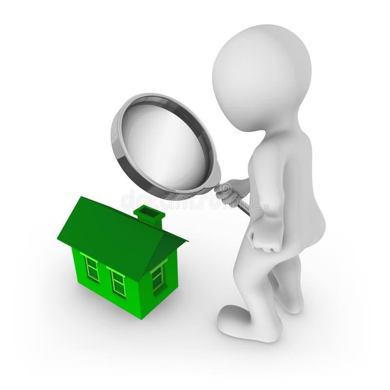 homme 3d avec des regards de loupe à la maison verte sur un plancher illustration libre de droits