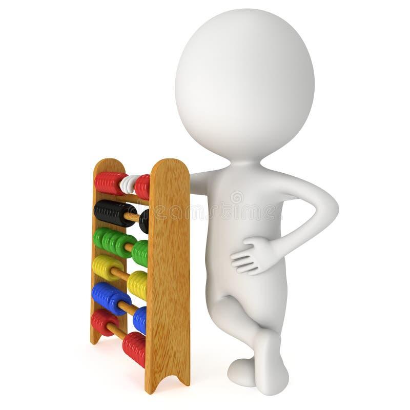 homme 3d avec l'abaque de jouet illustration libre de droits