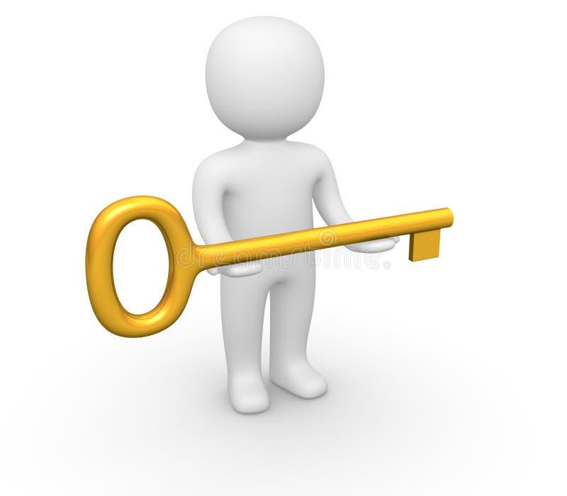 homme 3d avec la grande clé illustration stock