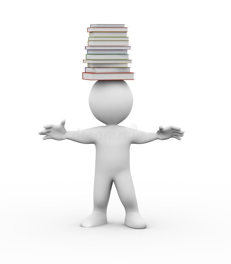 homme 3d avec la pile des livres sur la tête illustration de vecteur