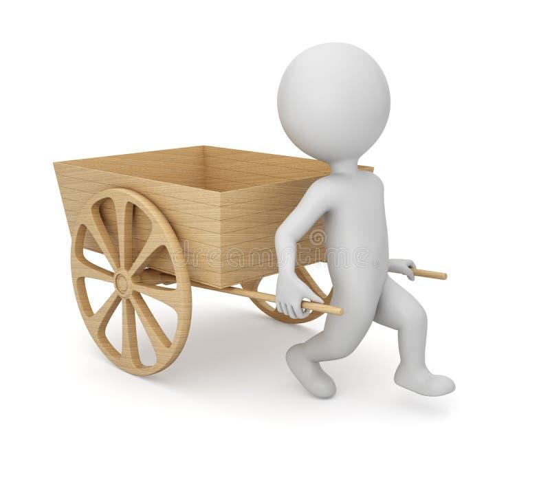 homme 3D avec le chariot en bois vide illustration stock