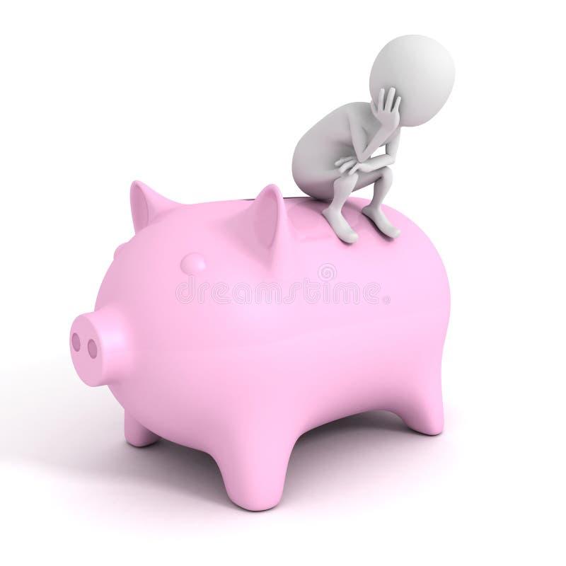 homme 3D avec le concept financier de l'épargne de banque porcine d'argent illustration stock