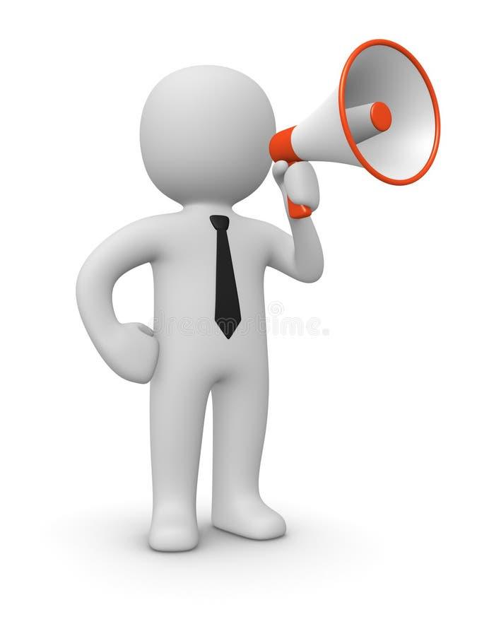 homme 3d avec le haut-parleur illustration libre de droits