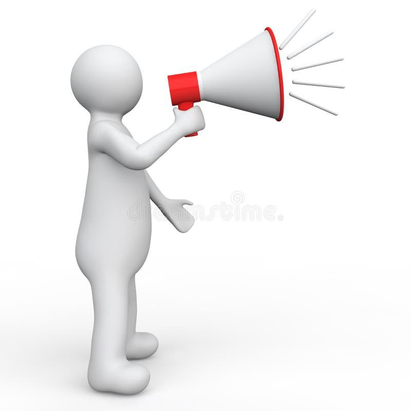 homme 3d avec le mégaphone illustration libre de droits