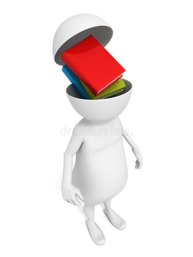 Homme 3d blanc avec des livres dans la tête ouverte illustration libre de droits