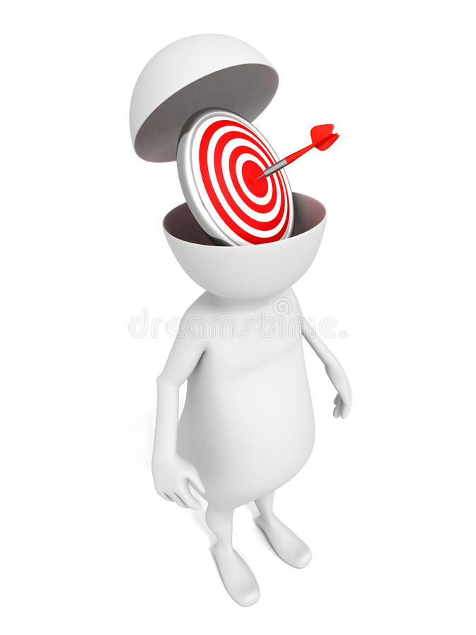 Homme 3d blanc avec la cible rouge de dards dans la tête ouverte illustration de vecteur