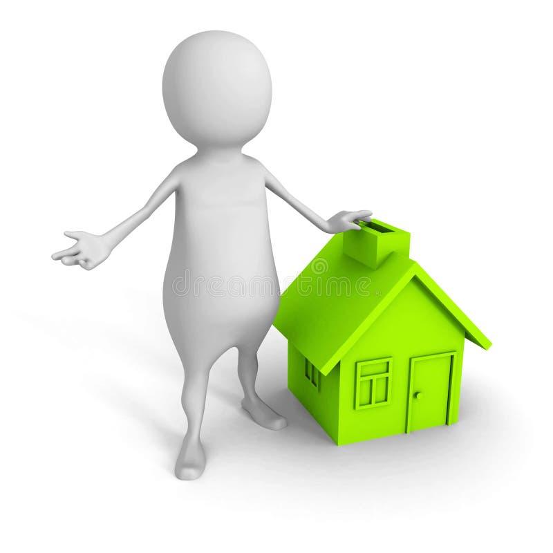 Homme 3d blanc avec le symbole de maison verte Concept 6 d'immeubles images stock