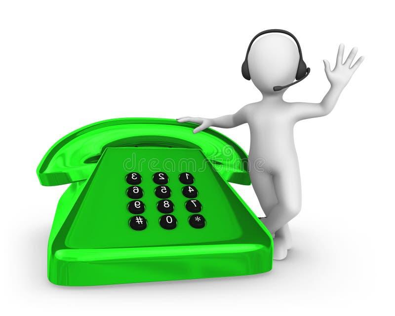 homme 3d blanc avec le vieux téléphone vert Concept de support illustration de vecteur
