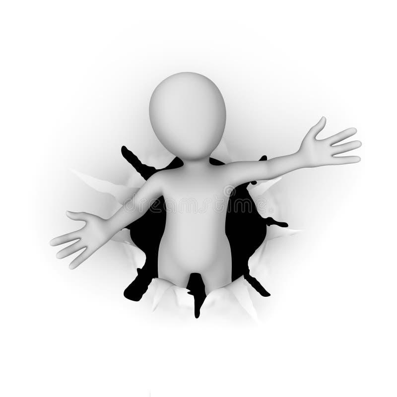 homme 3d blanc laissant le trou dans le papier dans la pose bienvenue illustration libre de droits