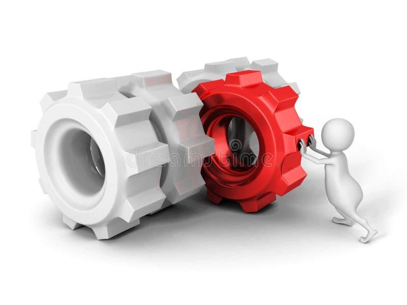 Homme 3d blanc poussant la vitesse rouge de roue dentée à d'autres illustration stock
